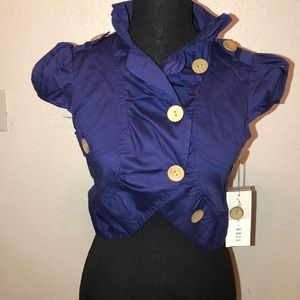 Ali & Kris cropped indigo blue jacket